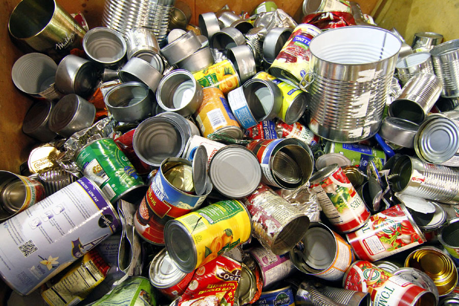 Tin/Steel Cans - rinsed, metal lids.