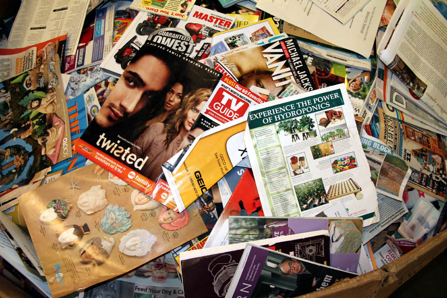 Magazines & Catalogs - must have shiny pages. No newspaper inserts